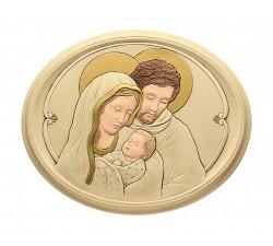 Sacra Famiglia Moderna Quadro Ovale Ceramica e Polvere di Alabastro