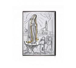 Quadro Santuario Madonna di Fatima in argento e oro