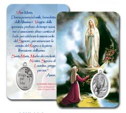 CARD PLASTIFICATA MADONNA LOURDES E BERNADETTA CON MEDAGLIA (CONF. 10 Pz)