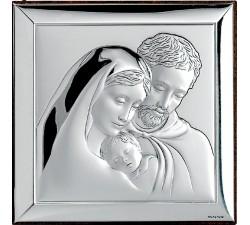 Quadro Sacra Famiglia Argento e Legno