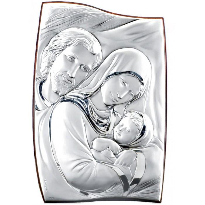 Quadro sagomato in legno ed argento con immagine sacra for Quadri sacra famiglia moderni prezzi