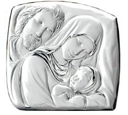 Quadro Sacra Famiglia su Lastra Argento