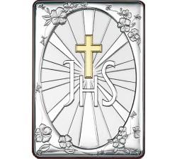 Piccolo quadro ricordo bomboniera prima comunione simbolo JHS