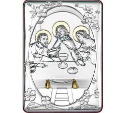 Piccolo quadro ricordo bomboniera prima comunione Cena di Emmaus