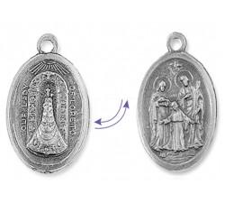 Medaglia Doppia Faccia Madonna di Loreto e Sacra Famiglia in lega di Zama