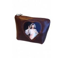 Borsellino Portarosario in Pelle con tasca porta immagine