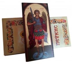 icona greca in legno san michele arcangelo serigrafata su tela