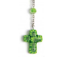 Collana Rosario con Grani in Vetro e Croce in Vetro Murano con Murrine