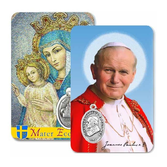 CONF 50 - 100 PZ. CARD PLASTIFICATA SAN GIOVANNI PAOLO II E MATER ECCLESIA