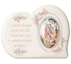 Quadro con immagine San Michele Arcangelo in Argento dipinto con preghiera