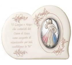 Quadro con immagine Gesù MIsericordioso in Argento dipinto con preghiera