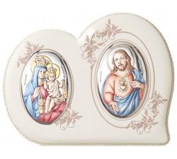 Quadro con immagine della Madonna del Carmelo e del Sacro Cuore di Gesù