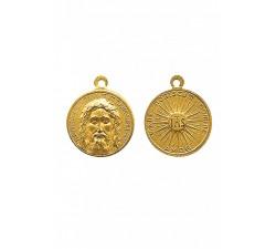 Medaglia del Volto Santo in ottone color oro
