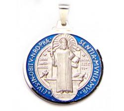 Medaglia San Benedetto in Argento 925‰ Smaltato