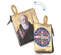 Borsellino portarosario San Benedetto in tessuto decorato