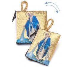 Borsellino portarosario Madonna MIracolosa in tessuto decorato