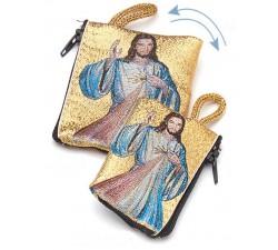Borsellino portarosario Gesù MIsericordioso in tessuto decorato