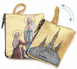 Borsellino Portarosario Madonna di Lourdes in Tessuto Decorato