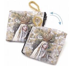 Borsellino Portarosario Madonna di Fatima in Tessuto Decorato