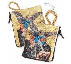 Borsellino Portarosario San Michele Arcangelo in Tessuto Decorato