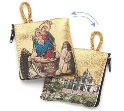 Borsellino Portarosario Madonna di Pompei in Tessuto Decorato