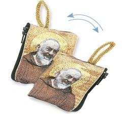 Borsellino Portarosario San Padre Pio in Tessuto Decorato