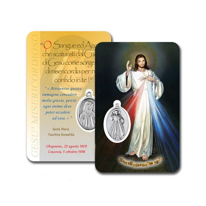 CARD PLASTIFICATA GESÙ MISERICORDIOSO CON MEDAGLIA