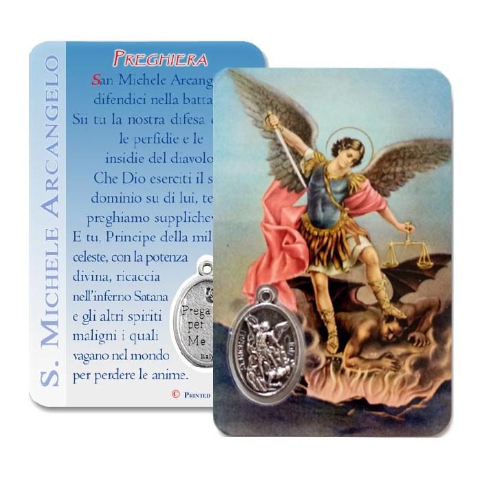 CARD PLASTIFICATA S. MICHELE ARCANGELO CON MEDAGLIA