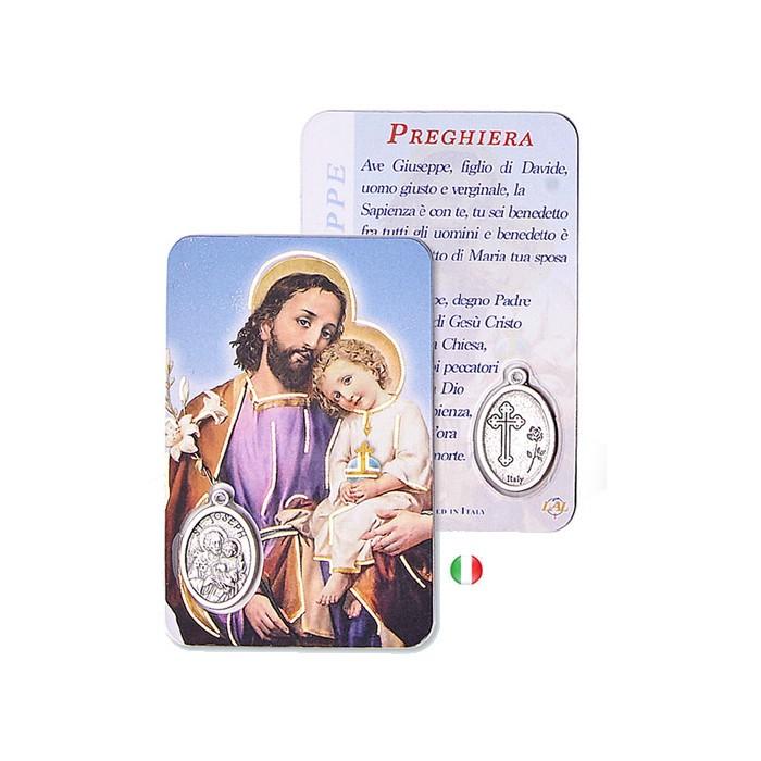CARD PLASTIFICATA S.GIUSEPPE CON MEDAGLIA E RIPORTI DORATI
