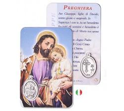 CARD PLASTIFICATA SAN GIUSEPPE CON MEDAGLIA
