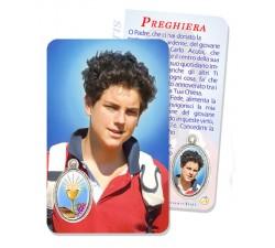 CARD PLASTIFICATA BEATO CARLO ACUTIS CON MEDAGLIA