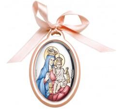 Capoculla Madonna con Bambino su Lastra Argento Lavorata e Dipinta