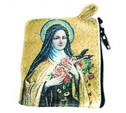 Borsellino Portarosario San Giuseppe con bambino in Tessuto Decorato