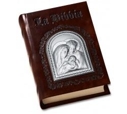 SACRA BIBBIA IN PELLE E ARGENTO SACRA FAMIGLIA