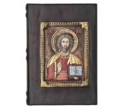 SACRA BIBBIA IN PELLE MARRONE ED IMMAGINE IN RILIEVO DIPINTA A MANO