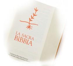 SACRA BIBBIA IN PELLE CHIARA CON IMMAGINE PRESSATA A CALDO