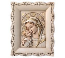 Madonna con Bambino quadro capezzale moderno in pietra ricostruita dipinta a mano