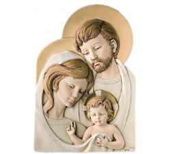 Sacra Famiglia quadro capezzale moderno in pietra ricostruita dipinta a mano