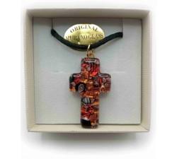 Collana con Croce in Vetro di Murano e Murrine