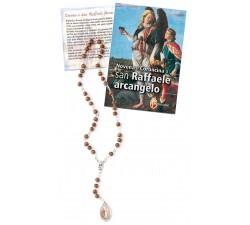 Rosario Devozionale San Raffaele Arcangelo in Legno con libro novena