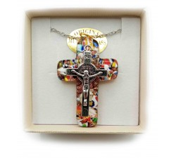 Collana con Croce in Vetro di Murano e Crocifisso di San Benedetto