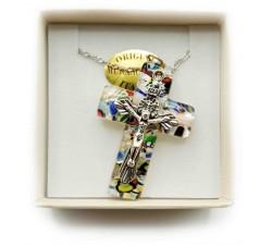 Collana con Croce in Vetro di Murano e Crocifisso in Metallo