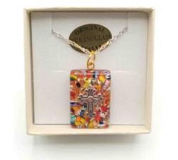 Ciondolo Rotondo Vetro di Murano Multicolore con Piccola Croce