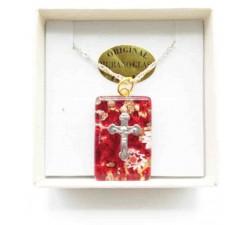 Ciondolo Rotondo Vetro di Murano Rosso con Piccola Croce
