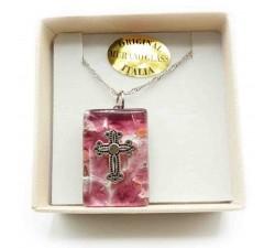 Ciondolo Rotondo Vetro di Murano Rosa con Piccola Croce