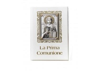 LIBRICINO IN PELLE BIANCA PRIMA COMUNIONE