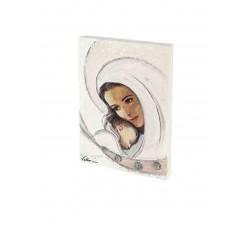 quadretto in legno madonna bianca, tela materica