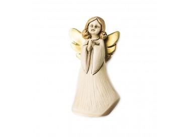 STATUINA ANGELO IN PREGHIERA IN RESINA DECORATA