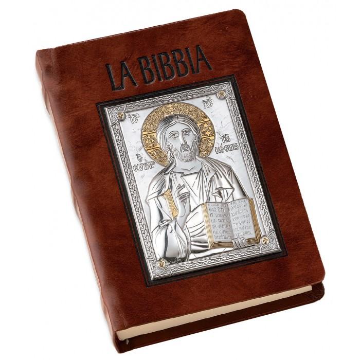 SACRA BIBBIA IN PELLE MARRONE E PLACCA ARGENTO