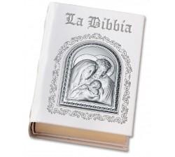 SACRA BIBBIA IN PELLE BIANCA E PLACCA ARGENTO